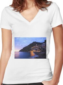 Positano Italy Women's Fitted V-Neck T-Shirt