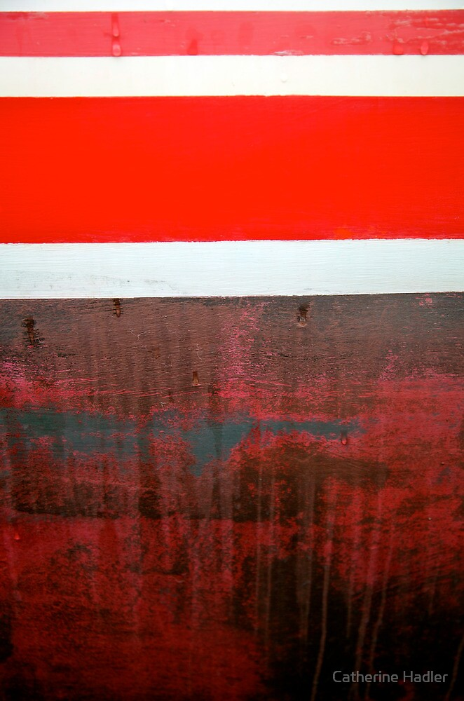 Boat Abstract in Red by Catherine Hadler