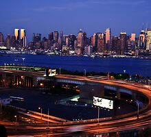 New York Cityscape by Night over Hudson river by upthebanner