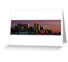 Downtown  Panoramic New York Cityscape Skyline at Night. NYC, USA Greeting Card