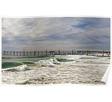 Letitia Beach & sand pumping jetty, Fingal NSW Poster