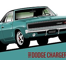 Dodge Charger R/T 1968 turquoise by car2oonz