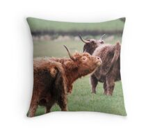 One unhappy cow... Throw Pillow