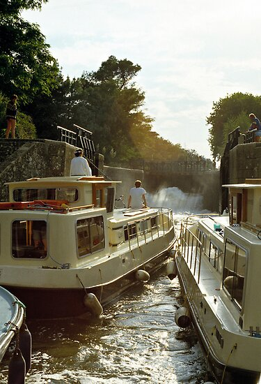 Locks filling, Canal Du Midi, France, 1980's by David A. L. Davies