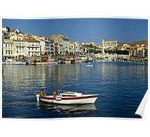 View of Port Vendres Harbour, France. 1980s Poster