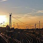 Munich Railyard at Sunset by David J Dionne