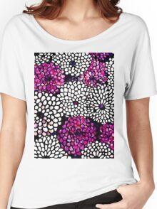 Purple White Flower Pattern Women's Relaxed Fit T-Shirt