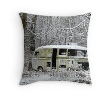 Hello Earthlings, RV in the Snow Throw Pillow