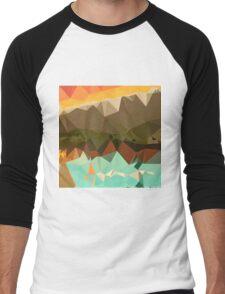 Dark Spring Green Abstract Low Polygon Background Men's Baseball ¾ T-Shirt