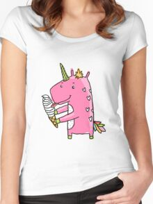 Unicorn and ice cream Women's Fitted Scoop T-Shirt