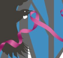 Flying Tui in Forest with Pink Ribbon Sticker