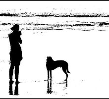 Dog and 'Owner' at Putsborough by Mike  Waldron