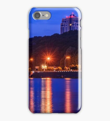 Evening lights above the river iPhone Case/Skin