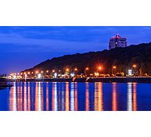 Evening lights above the river Photographic Print