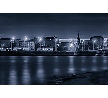 Light of night city. Church of St. Nicholas on the water. Photographic Print
