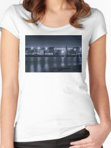 Light of night city. Church of St. Nicholas on the water. Women's Fitted Scoop T-Shirt