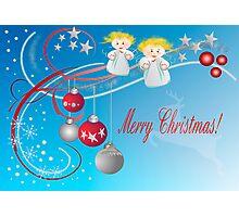 Decorative Merry Christmas card Photographic Print