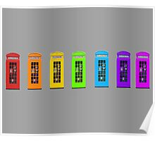 Rainbow Phone boxes  Poster