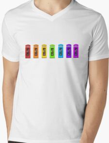 Rainbow Phone boxes  Mens V-Neck T-Shirt