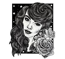 Miss Deadly Red Rose, Illustrated PinUp Portrait Photographic Print