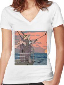 Titanic selfie Women's Fitted V-Neck T-Shirt