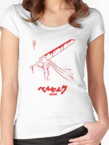 The Black Swordsman - Guts - Berserk - Red Outline Women's Fitted Scoop T-Shirt