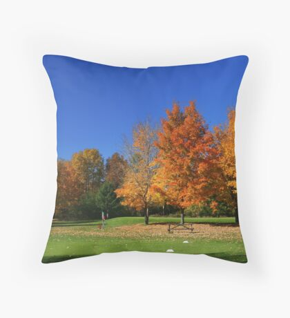 Great Fall Day On The Course! Throw Pillow
