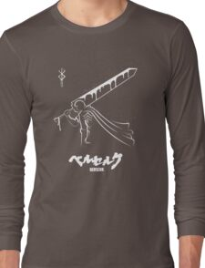 The Black Swordsman - Guts - Berserk - White Outline Long Sleeve T-Shirt