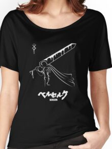 The Black Swordsman - Guts - Berserk - White Outline Women's Relaxed Fit T-Shirt