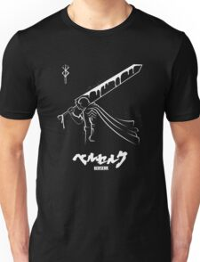 The Black Swordsman - Guts - Berserk - White Outline Unisex T-Shirt