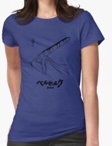 The Black Swordsman - Guts - Berserk - Black Outline Womens Fitted T-Shirt