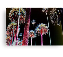 California Dreaming - Neon Palm Trees glowing at night Canvas Print