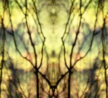 Abstract Yellow Trees Sticker