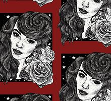 Miss Deadly Red Rose, Illustrated PinUp Portrait by bblane