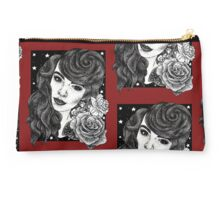 Miss Deadly Red Rose, Illustrated PinUp Portrait Studio Pouch