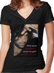 Adan Turner's invitation to dinner Women's Fitted V-Neck T-Shirt