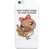 Cute finch girl bird with pink bow tie iPhone Case/Skin