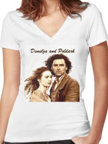 Demelza and Poldark in Cornwall Women's Fitted V-Neck T-Shirt