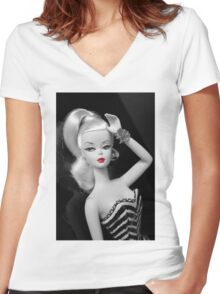 vintage silkstone Barbie Women's Fitted V-Neck T-Shirt