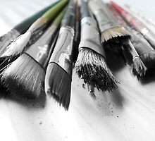 old worn paint brushes by tego53