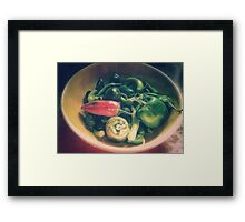 Still life with hot peppers Framed Print