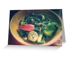 Still life with hot peppers Greeting Card