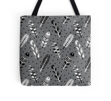 Feather geometric grey charcoal neutral modern pattern print dots geo scandinavian scandi pattern print Tote Bag