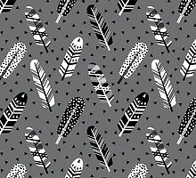Feather geometric grey charcoal neutral modern pattern print dots geo scandinavian scandi pattern print by charlottewinter