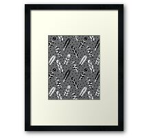 Feather geometric grey charcoal neutral modern pattern print dots geo scandinavian scandi pattern print Framed Print