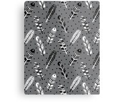 Feather geometric grey charcoal neutral modern pattern print dots geo scandinavian scandi pattern print Metal Print