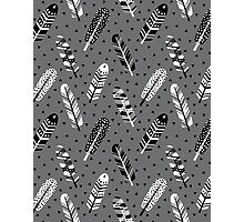 Feather geometric grey charcoal neutral modern pattern print dots geo scandinavian scandi pattern print Photographic Print