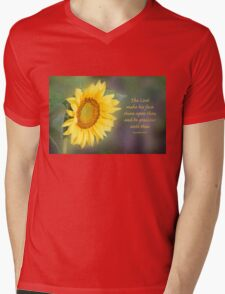 Sunflower with Bible Verse Mens V-Neck T-Shirt