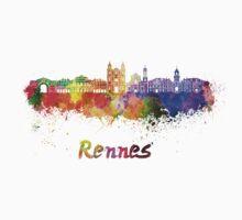 Rennes skyline in watercolor Baby Tee