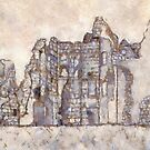 Computer Enhanced Sketch of Old Wardour Castle, England by Dennis Melling